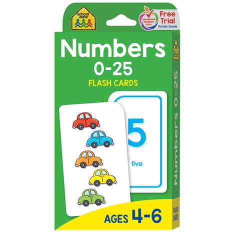 Alphabet Flash Cards For Ages 4 6 School Zone Flash Card numbers 0 25 flash cards