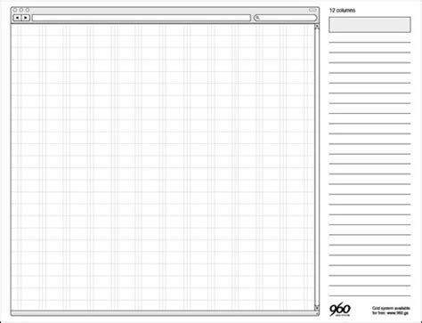web layout grid template 20 free printable sketching and wireframing templates