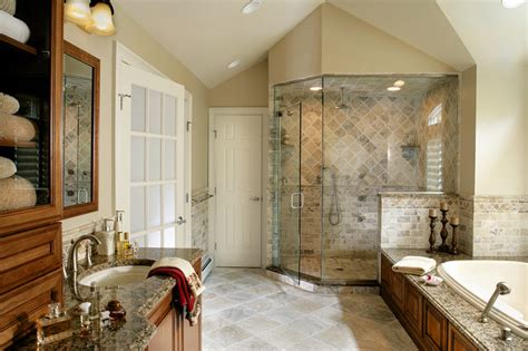 creative design home remodeling master bathroom remodel with natural stone and oversized