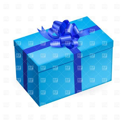 Rectangular light blue gift box with shiny bow Vector