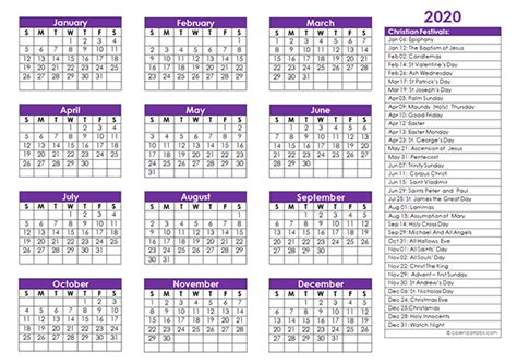 christian festivals calendar template  printable templates