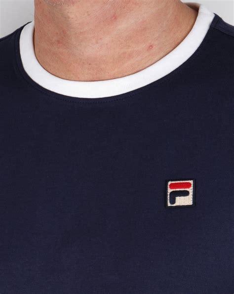 fila vintage 4 stripe ringer t shirt navy white crew neck