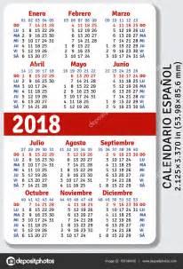 Calendario 2018 Vetor Calendario De Bolsillo Espa 241 Ol Para 2018 Vector De Stock