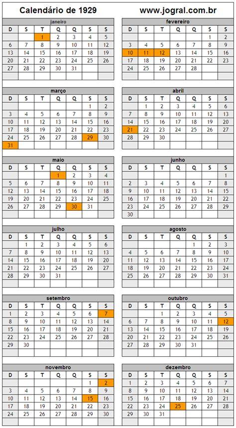 Calendario De 1929 Calend 225 Ano 1929 Para Imprimir Em Formato Pdf E Imagem