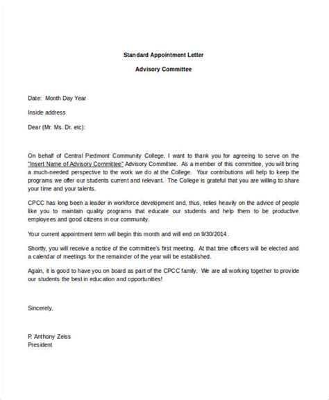 appointment letter for safety committee chairman 44 appointment letter template exles free premium