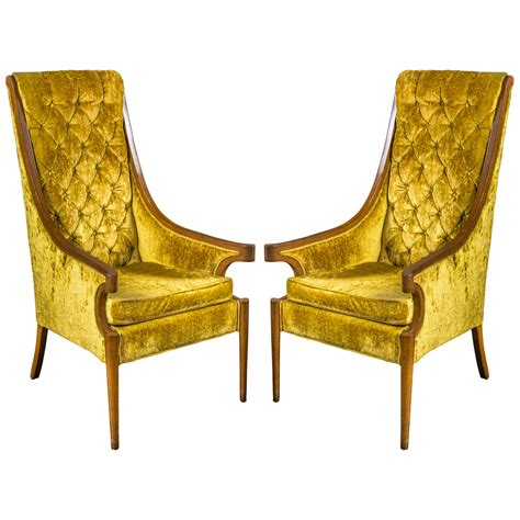 high back armchairs for sale pair of hollywood regency high back armchairs for sale at