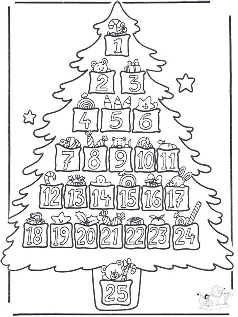 Christmas Tree Advent Calendar Coloring Page | free printables and coloring pages for advent zephyr hill