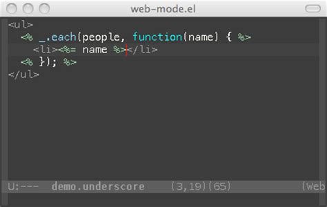 underscore js template web mode el html template editing for emacs