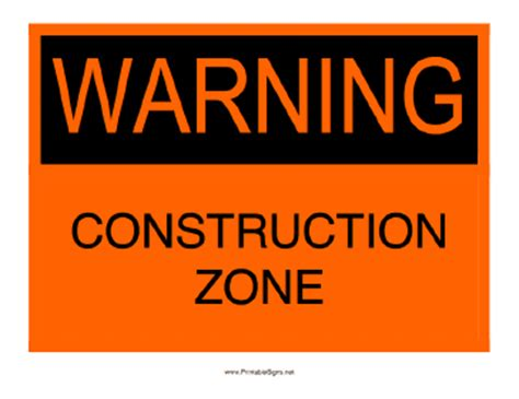 Printable Warning Construction Zone Sign Free Construction Sign Templates