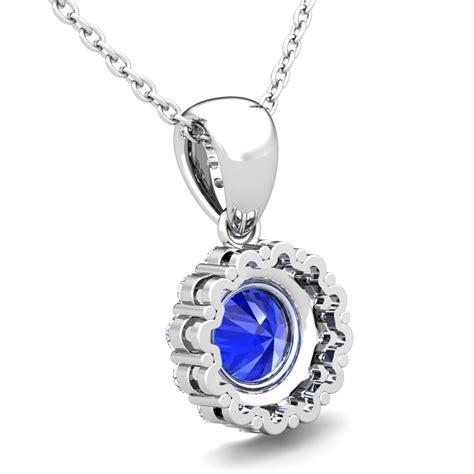 and ceylon sapphire pendant in 18k gold halo