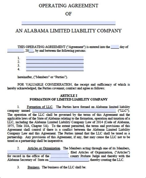 llc operating agreement free template llc operating agreement template cyberuse