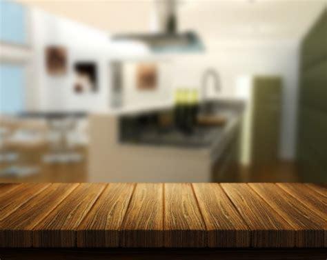 Interior Design For Kitchen by 3d Rendem De Uma Mesa De Madeira Com Uma Cozinha No Fundo