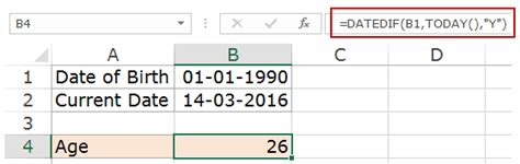 how to determine age calculating age in excel using formulas free calculator template