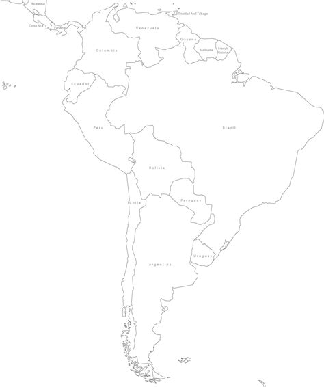 South And America Map Outline by America Political Blank Map