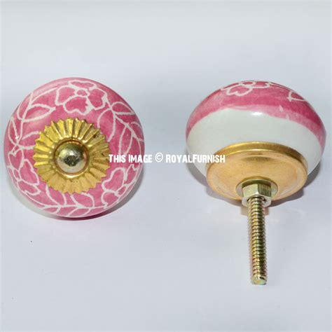 Pink Knobs And Pulls by Pink And White Floral Ceramic Knobs Set Of 2