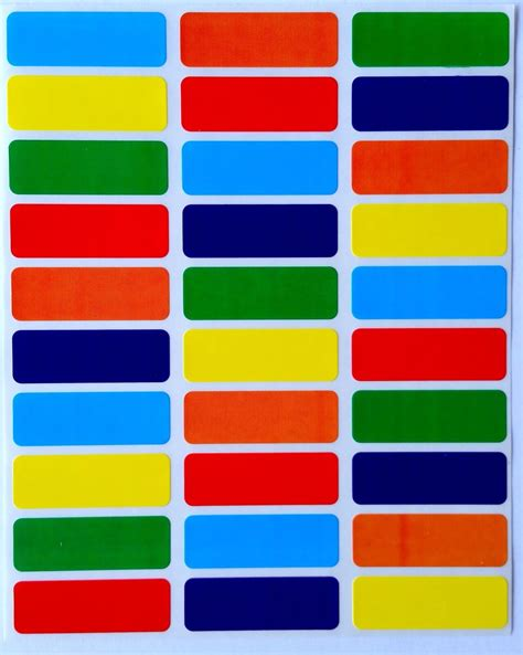 colored labels color coding labels rectangle 6 colors ideal stickers for