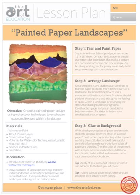Landscape Lesson Painted Paper Landscape Free Lesson Plan The