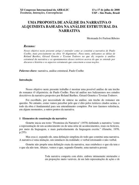 UMA PROPOSTA DE ANÁLISE DA NARRATIVA O alquimista análise