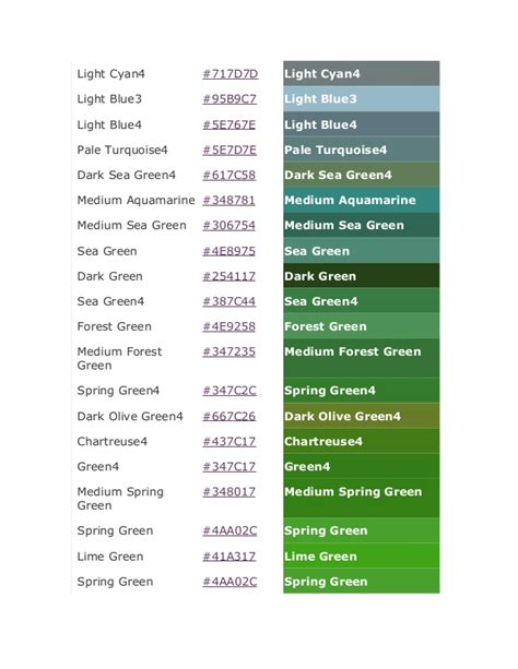 green color code color code