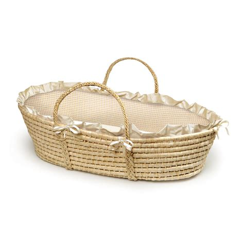 moses basket coverlet badger basket natural moses basket with gingham bedding