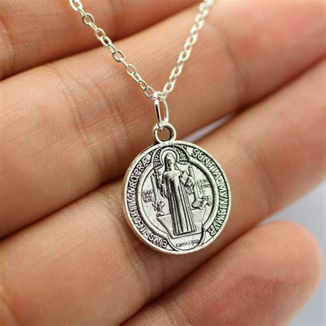 silver st benedict charm necklace pendant patron