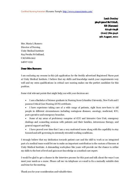 cover letter exles nursing assistant covering letter exle