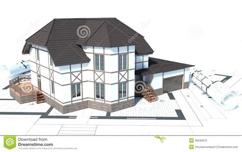Construction Of Houses. Drawings. 3d Illustration Stock