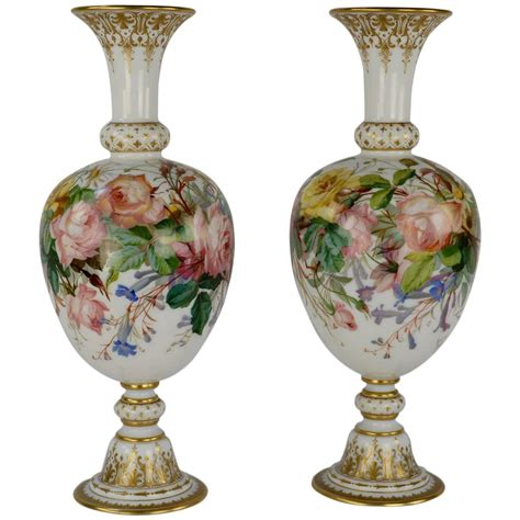 Baccarat Vases pair of opaline baccarat floral vases at 1stdibs