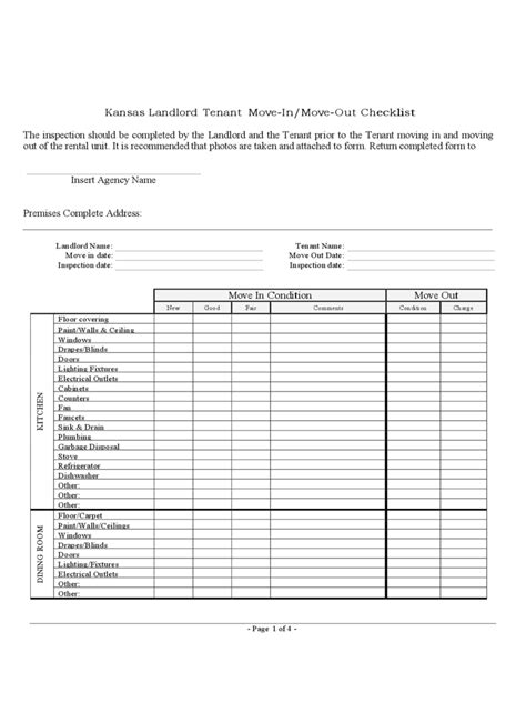 landlord inspection checklist template 6 free templates