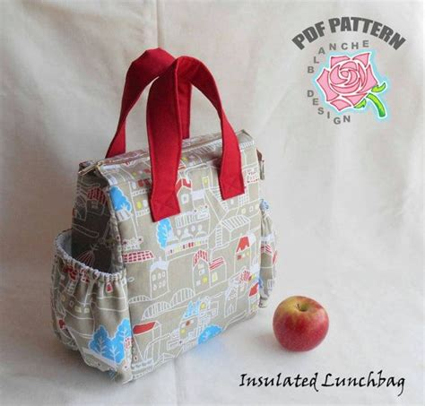 insulated tote bag pattern insulated lunchbag pdf sewing tutorial lunch bag pattern