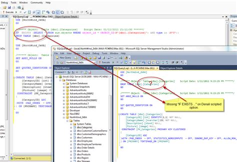 sql server denali missing if exists in drop create