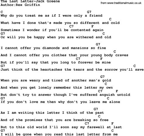 Letter Chords Country The Last Letter Greene Lyrics And Chords