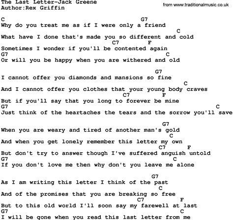 Letter Ukulele Chords Country The Last Letter Greene Lyrics And Chords