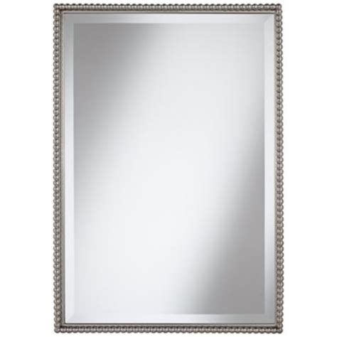 beaded frame mirror this generous scaled beveled mirror uttermost sherise beaded 31 quot high rectangular wall mirror