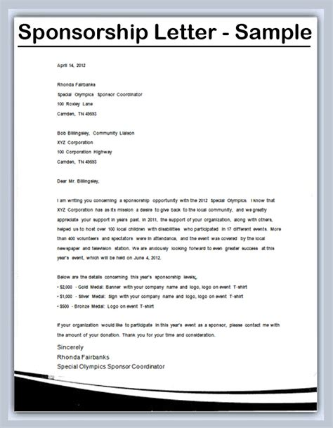Sponsorship Letter Exles How To Write A Sponsorship Letter Sles
