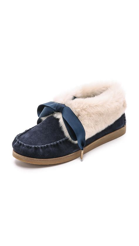 tory burch house shoes tory burch aberdeen slippers tory navy in blue tory navy lyst