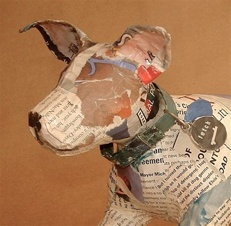 How To Make Paper Mache Sculptures - unique whimsical paper mache sculpture with collar