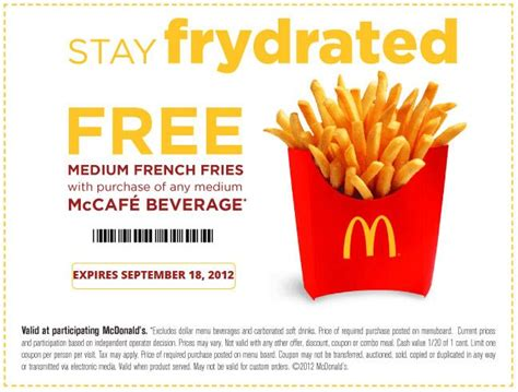 Fry S Food Gift Cards - mcdonald s frydrate free fry coupon good cheap free food pinte