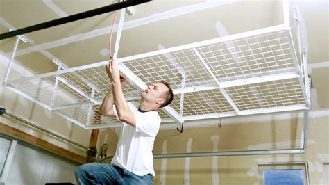 garage ceiling shelf how to install a overhead garage storage rack ceiling