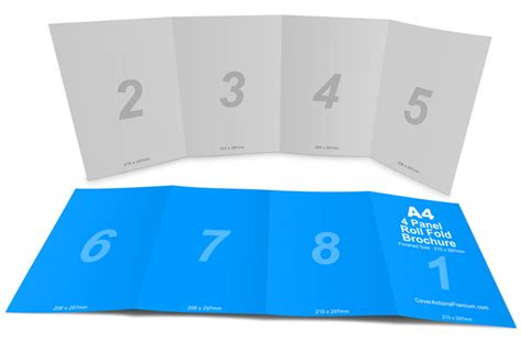 4 panel a4 roll fold brochure mockup cover actions