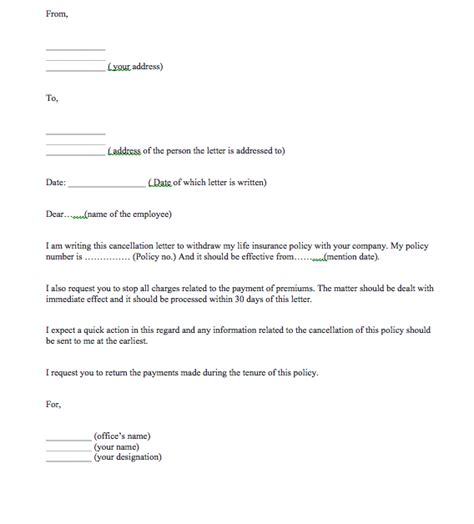 Cancellation Letter For Insurance Policy Top Form Templates Free Templates Download Insurance Policy Template