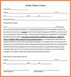 30 day notice to vacate california template 10 exle of 30 day notice to tenant notice letter