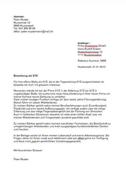 Bewerbungsschreiben Schweiz Muster Initiativbewerbung Muster Und Vorlagen Kostenlos
