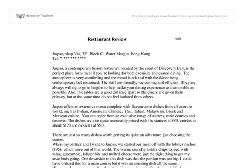 Restaurant Review Essay Sle writing a review essay on a restaurant