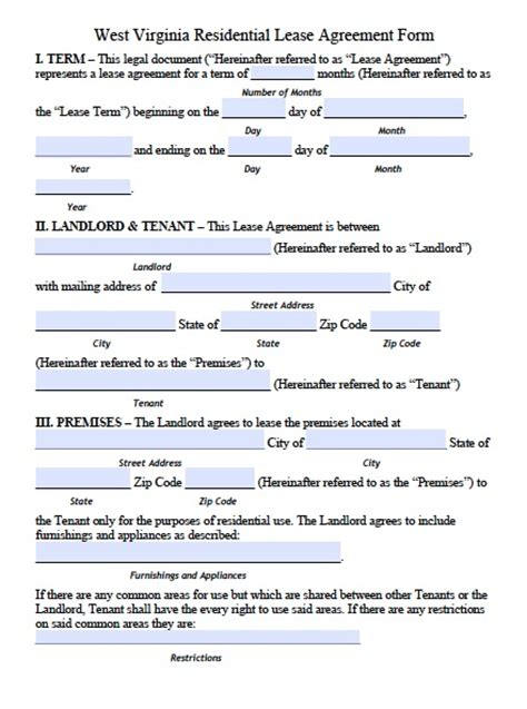 printable lease agreement wv free west virginia residential lease agreement pdf template