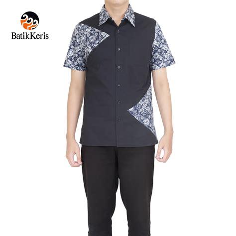 Dress Kotak Polos kemeja batik slimfit lengan pendek motif polos kombinasi