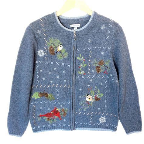 Sweater 10 Winter X winter birds blue cardigan tacky sweater the sweater shop