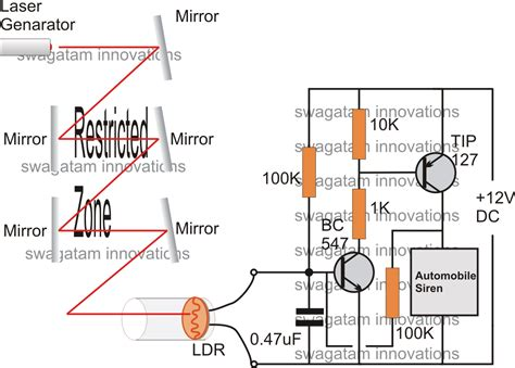 laser light detector circuit simple burglar alarm circuits circuit projects