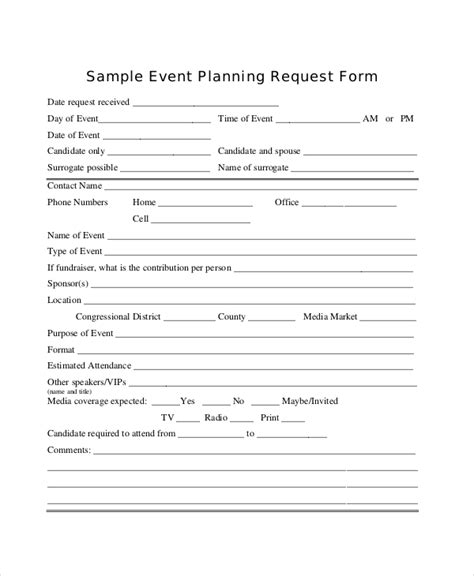 event form template 14 sle event request forms sle forms