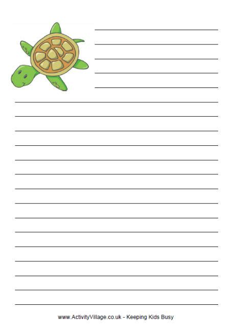 printable animal lined paper sea turtle writing paper